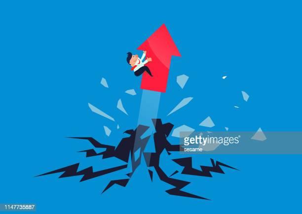 絶望的な、障害物を突破するために矢に乗ってビジネスマン - 出現点のイラスト素材/クリップアート素材/マンガ素材/アイコン素材