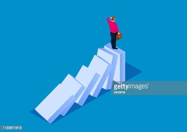 desperate businessman - domino effect stock illustrations