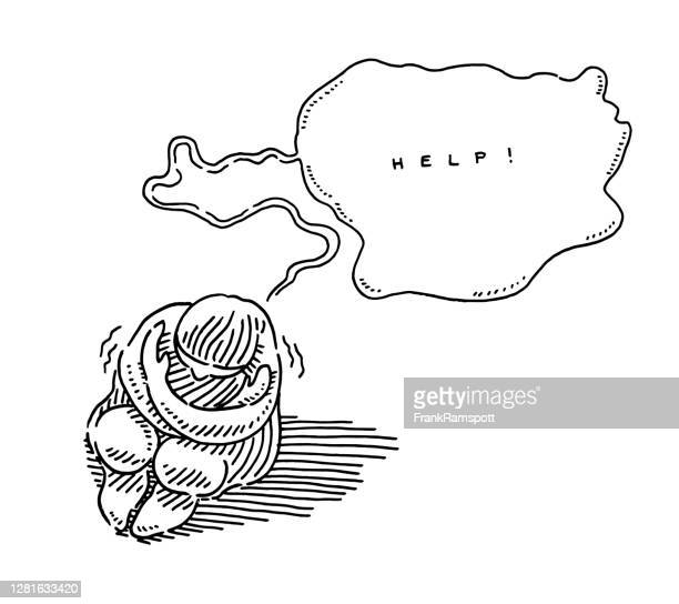 desperate crouching person help speech bubble drawing - cartoon hobo stock illustrations