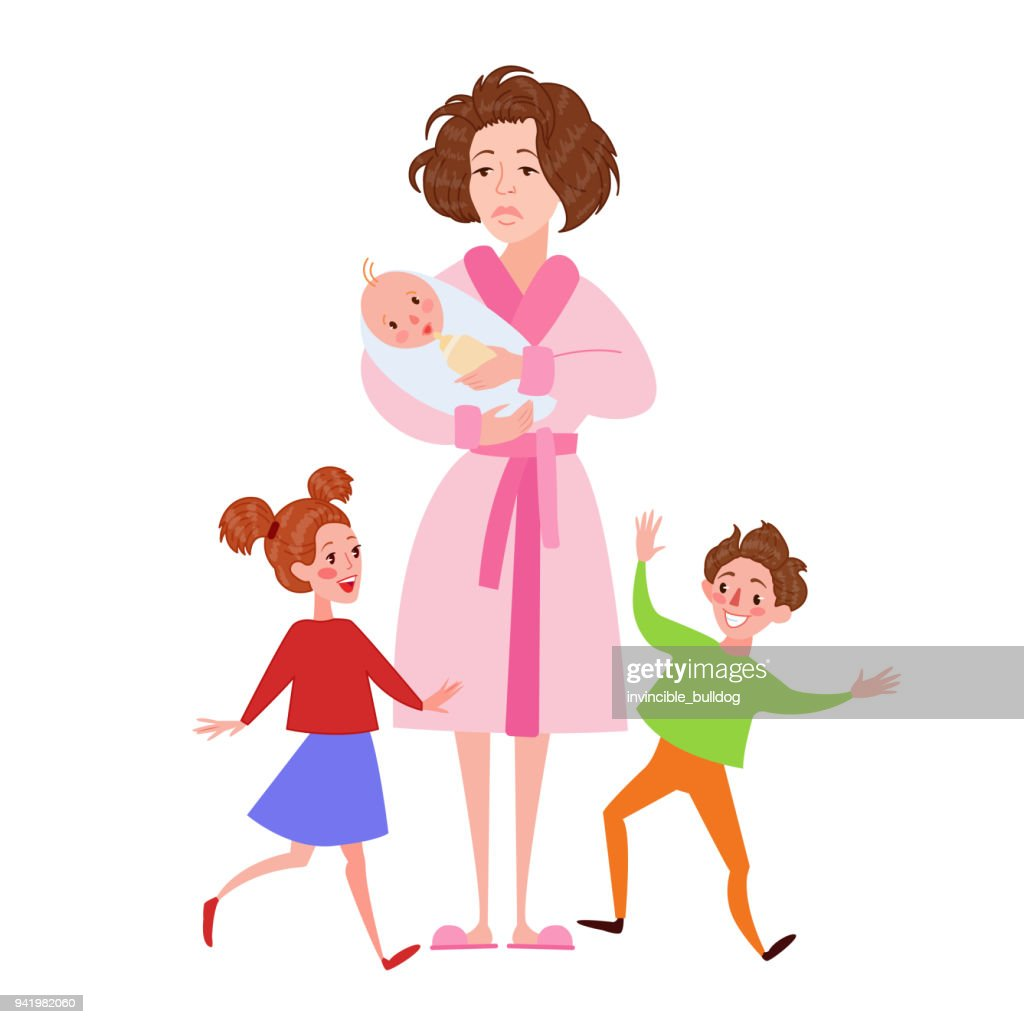 Desperate Mother with Newborn and Children. Tired Cartoon Woman and Romping Kids. Motherhood Concept. Vector illustration