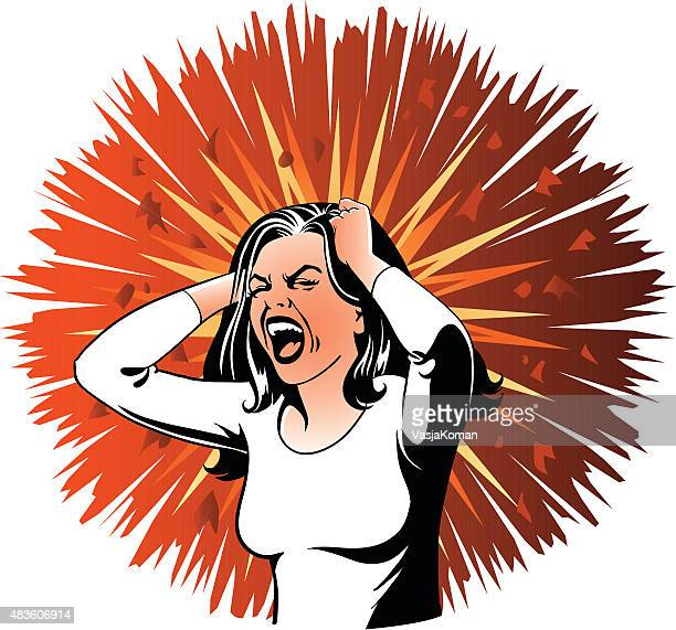 Desperate Screaming Woman on Angry Background