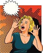 Desperate Vintage Woman Screaming