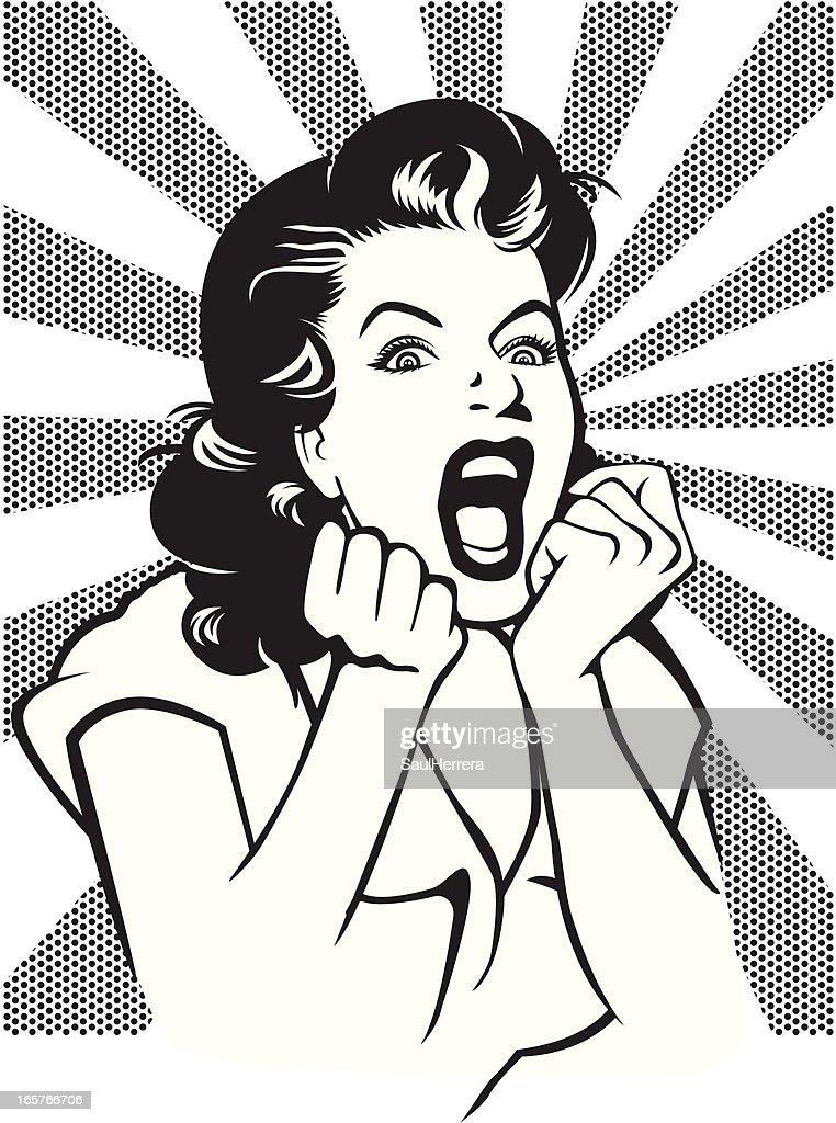 Desperate woman screaming retro style illustration : stock illustration