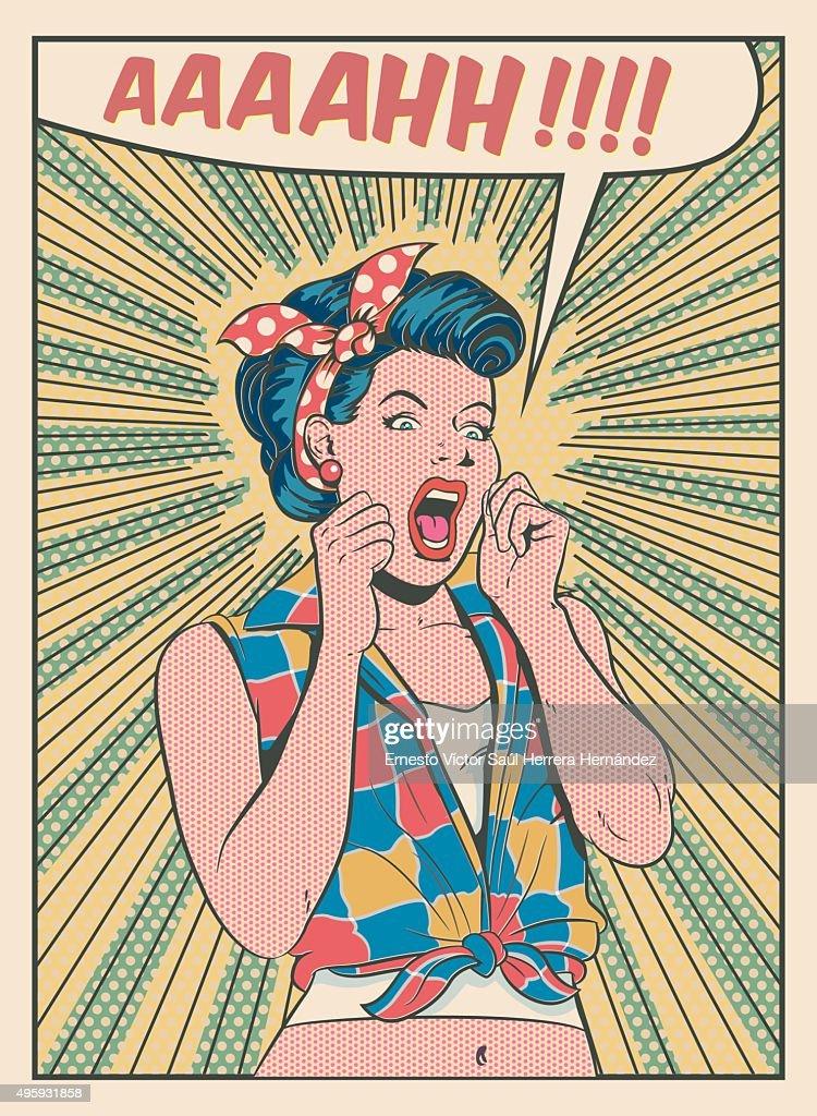 Desperate Woman Screaming Retro Style Illustration High ...