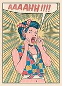 Desperate woman screaming retro style illustration