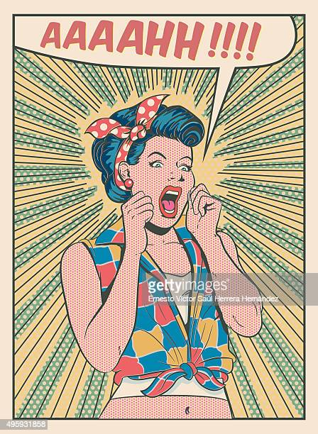 desperate woman screaming retro style illustration - hysteria stock illustrations