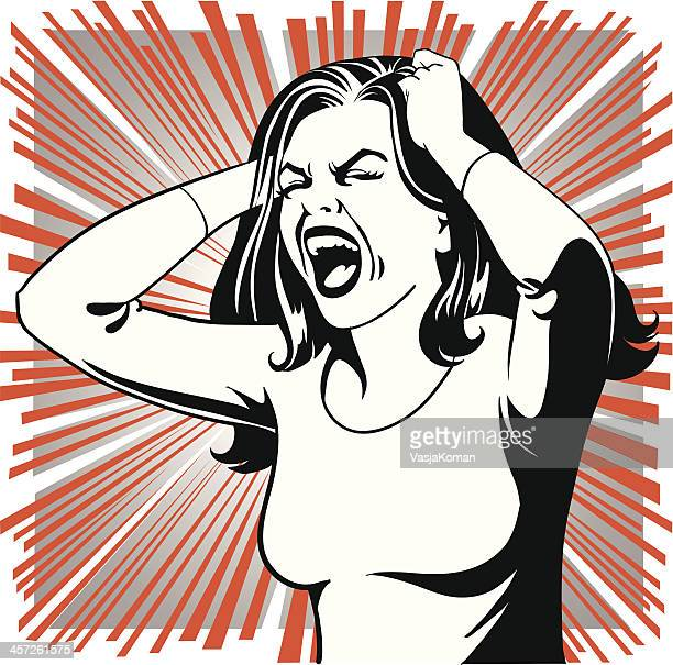 desperate woman - anger stock illustrations