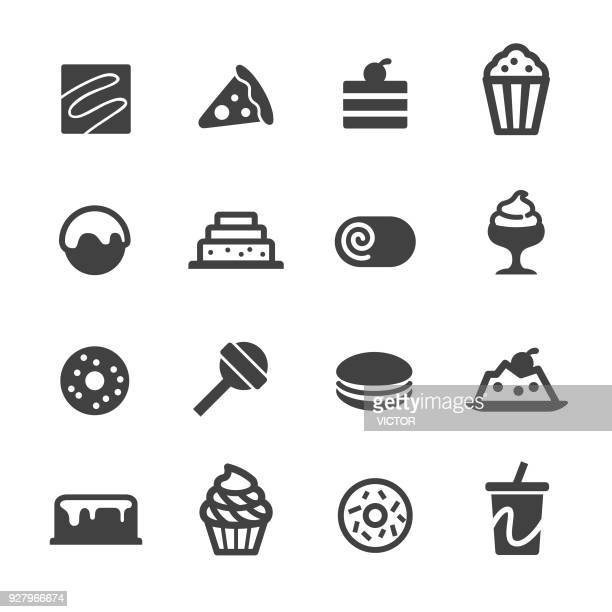 dessert and sweet food icons - acme series - panna cotta stock illustrations, clip art, cartoons, & icons