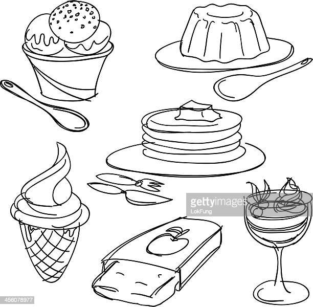dessert collection - apple pie stock illustrations