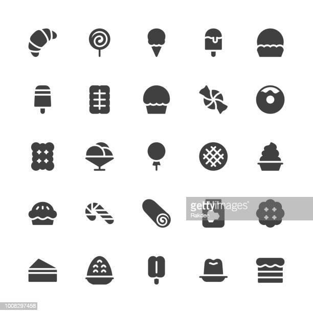 Dessert-Icons - graue Serie