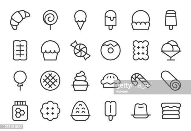 dessert icons - light line series - cracker snack stock illustrations