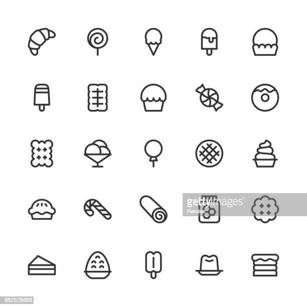 ilustraciones, imágenes clip art, dibujos animados e iconos de stock de iconos de postre - línea serie - golosina
