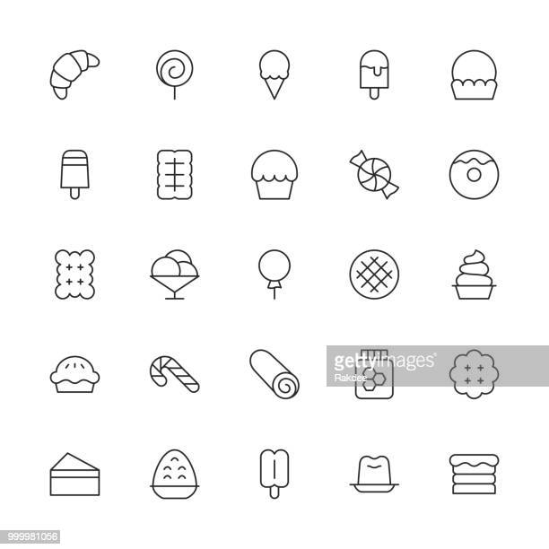 dessert icons - thin line series - cracker snack stock illustrations, clip art, cartoons, & icons