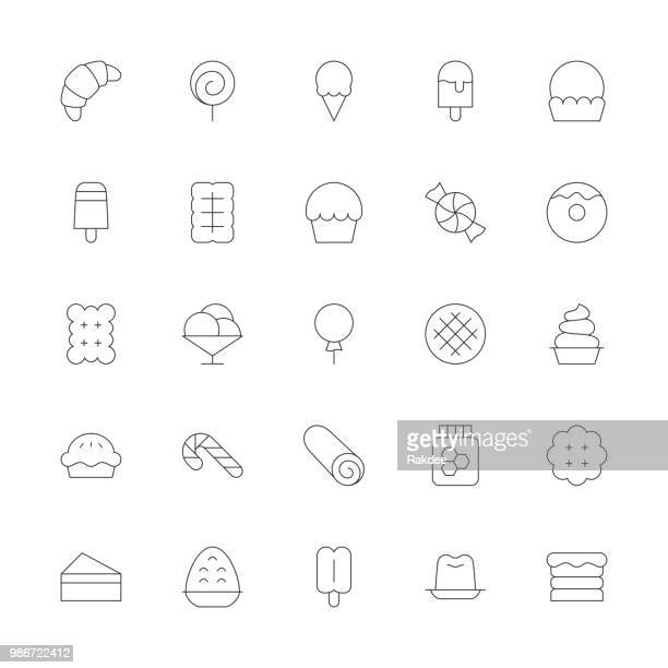 dessert icons - ultra thin line series - cracker snack stock illustrations, clip art, cartoons, & icons