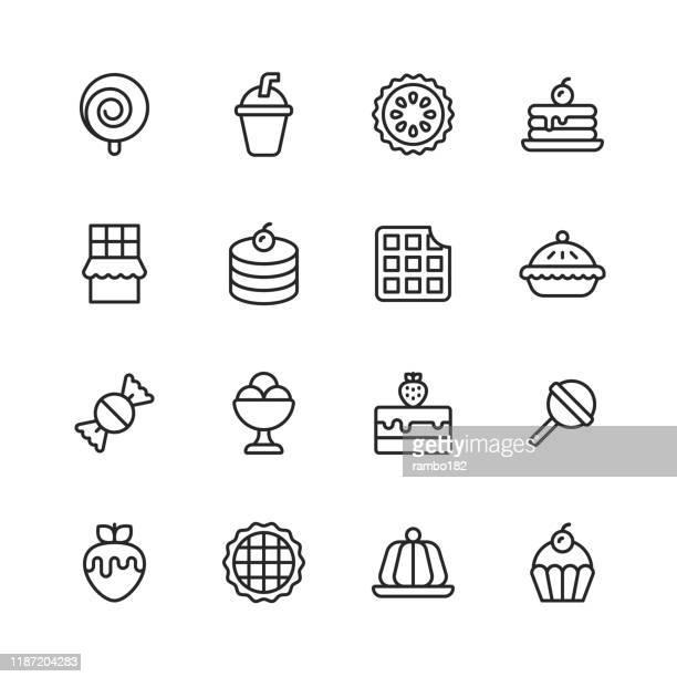 デザートラインアイコン。編集可能なストローク。ピクセルパーフェクト。モバイルおよび web 用。甘い、デザート、ケーキ、カップケーキ、クロワッサン、アイスクリーム、キャンディ、� - ケーキ点のイラスト素材/クリップアート素材/マンガ素材/アイコン素材