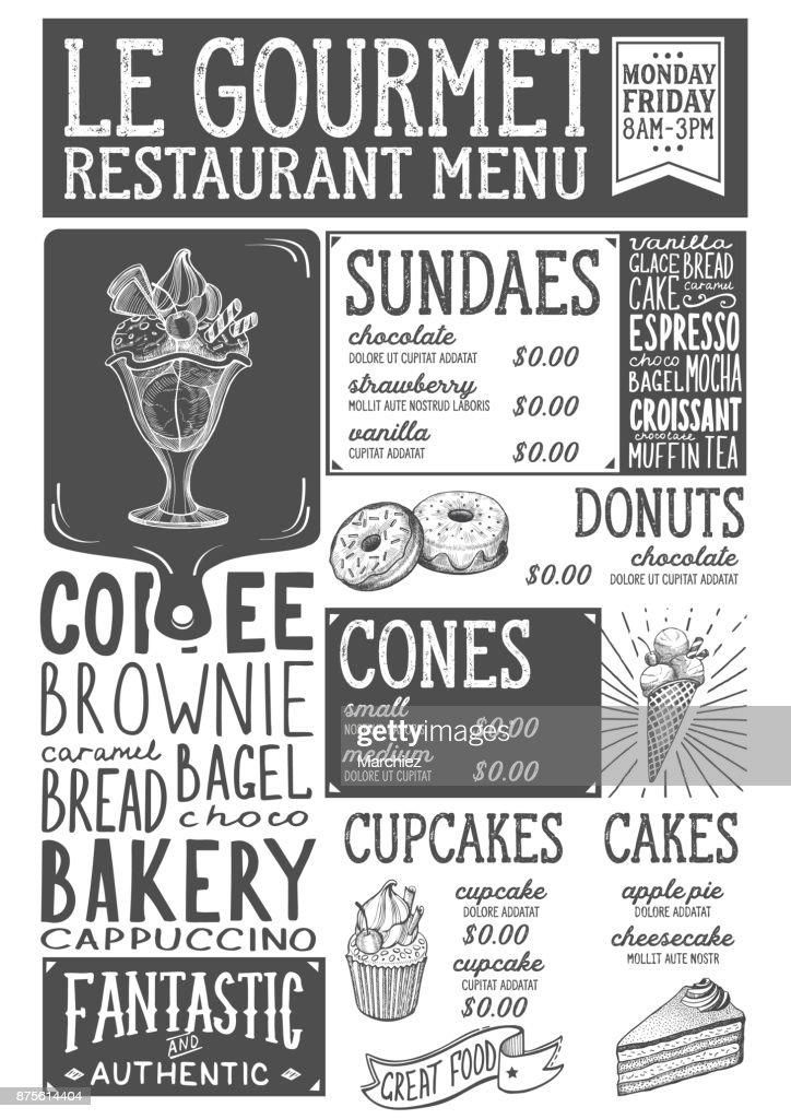 Dessert menu restaurant, food template.