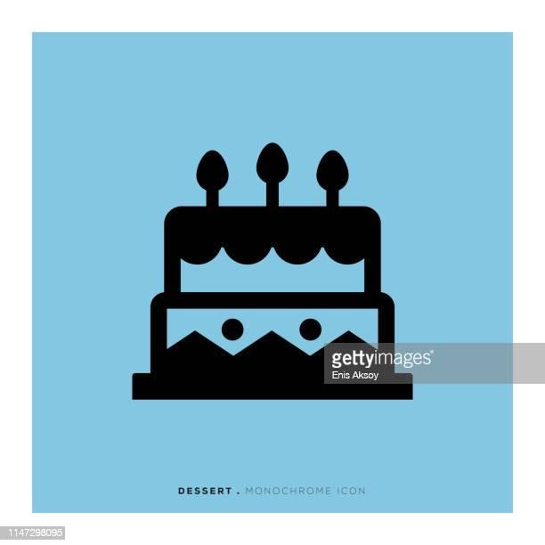 dessert monochrome icon - brownie stock illustrations, clip art, cartoons, & icons