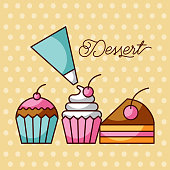 dessert sweet cupcakes and slice cake berry with icing cream bag