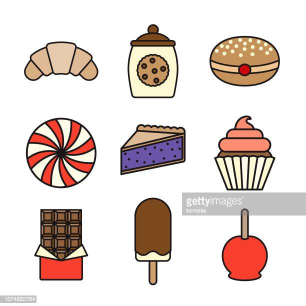 dessert thin line icon set - baked stock illustrations, clip art, cartoons, & icons