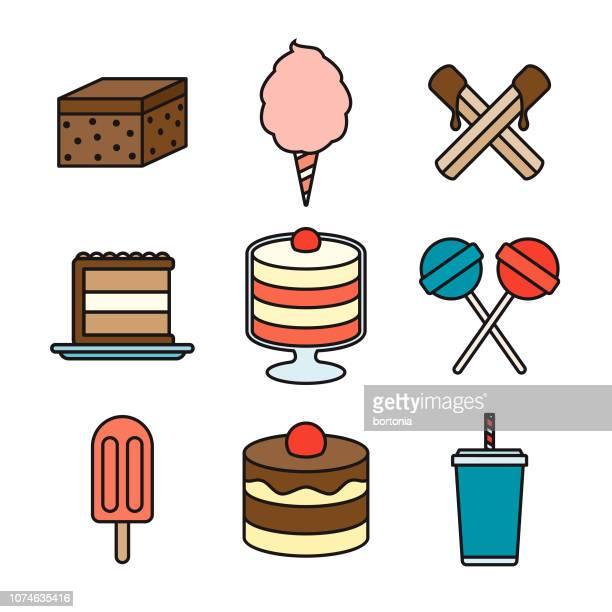 dessert thin line icon set - churro stock illustrations, clip art, cartoons, & icons