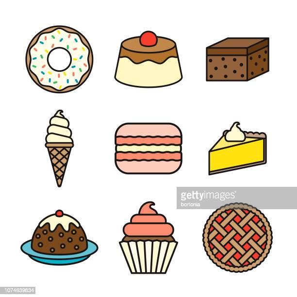 dessert thin line icon set - pastry lattice stock illustrations, clip art, cartoons, & icons
