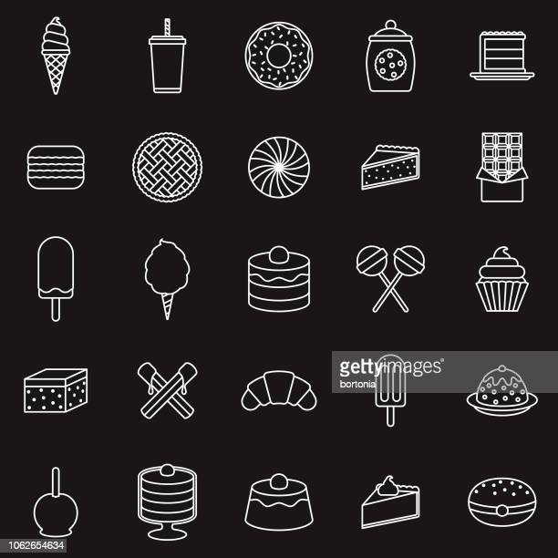 dessert thin line outline icon set - brownie stock illustrations, clip art, cartoons, & icons
