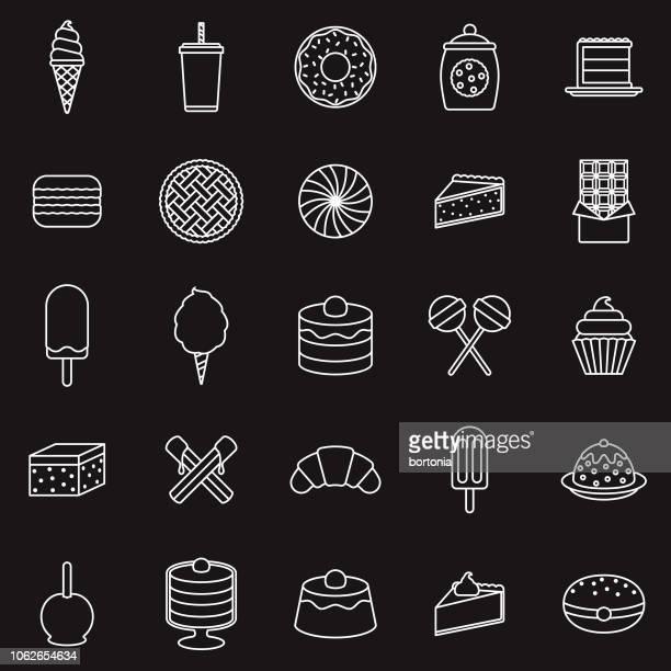 dessert thin line outline icon set - churro stock illustrations, clip art, cartoons, & icons
