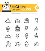 Desserts and Pastries Line Icons