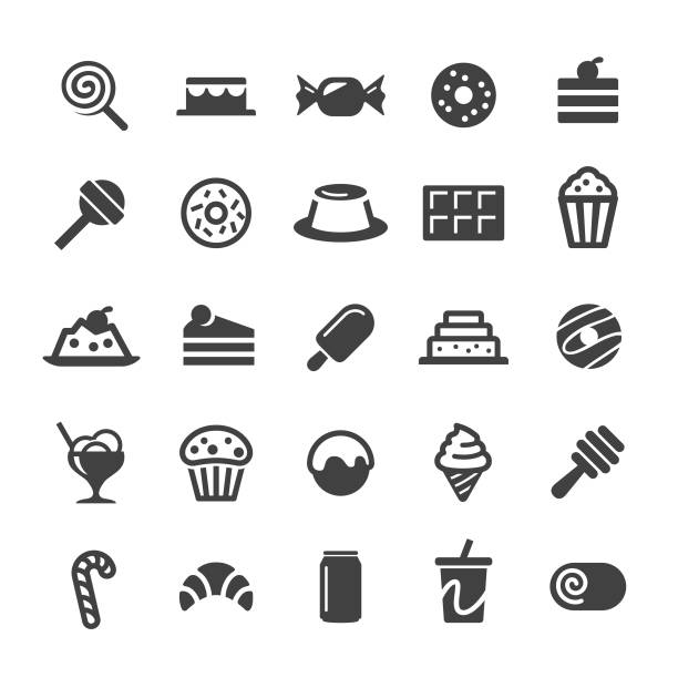 desserts and sweet food icons - smart series - ice cream stock illustrations