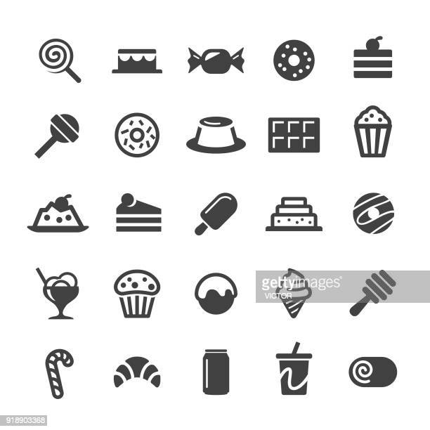 desserts and sweet food icons - smart series - unhealthy eating stock illustrations