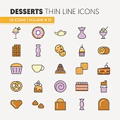Desserts and Sweets Food Linear Thin Icons Set