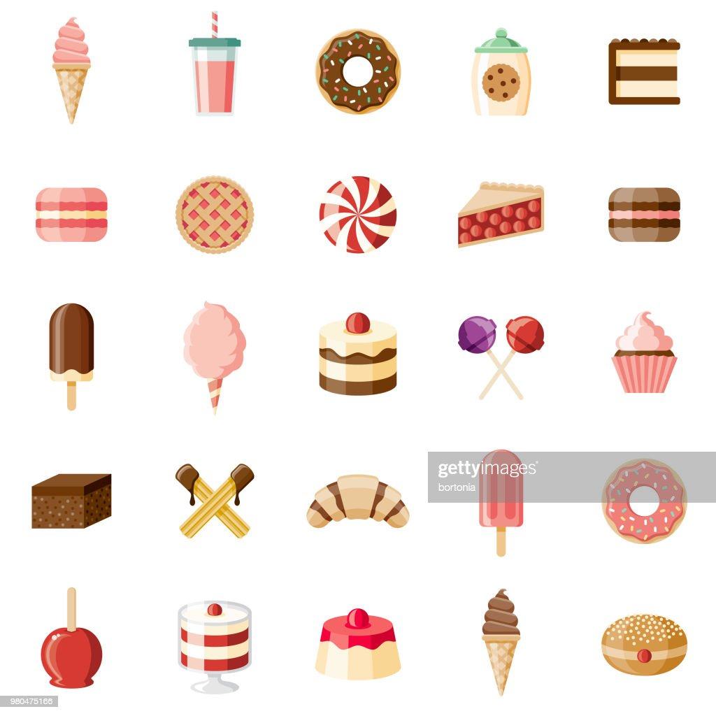 Desserts & Sweet Foods Flat Design Icon Set : Stock Illustration