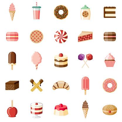 Desserts & Sweet Foods Flat Design Icon Set - gettyimageskorea