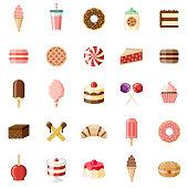 Desserts & Sweet Foods Flat Design Icon Set