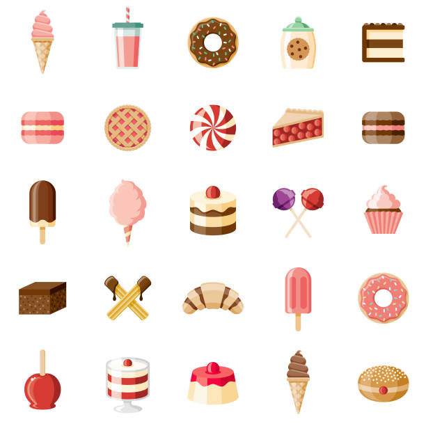 desserts & sweet foods flat design icon set - frozen food stock illustrations