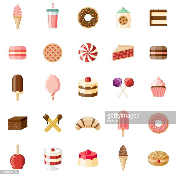desserts & sweet foods flat design icon set - dessert stock illustrations