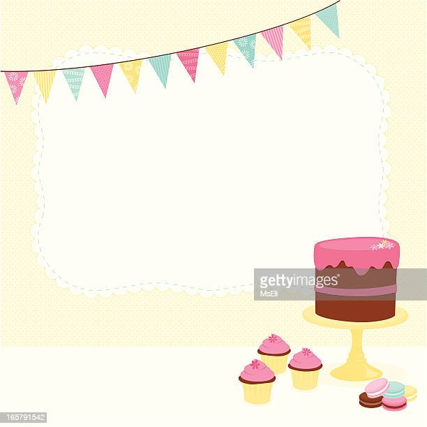 desserts with bunting and banner - macaroon stock illustrations, clip art, cartoons, & icons