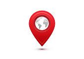 Destination concept. International travel journey. Red pointer with grey world map inside
