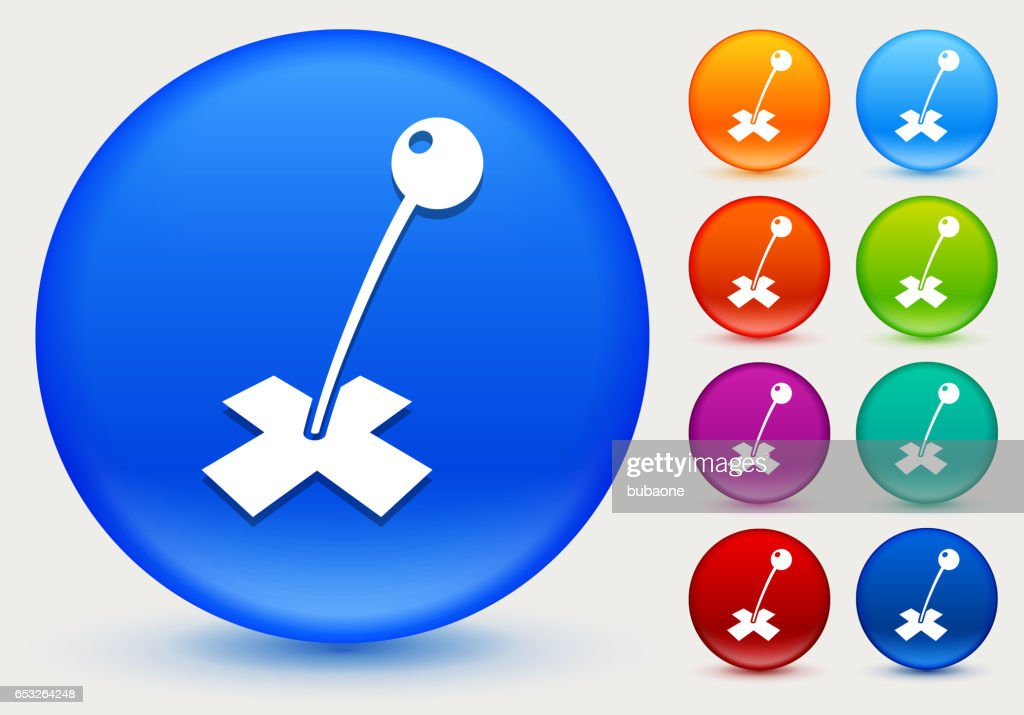 Destination Mark Icon on Shiny Color Circle Buttons : Arte vettoriale