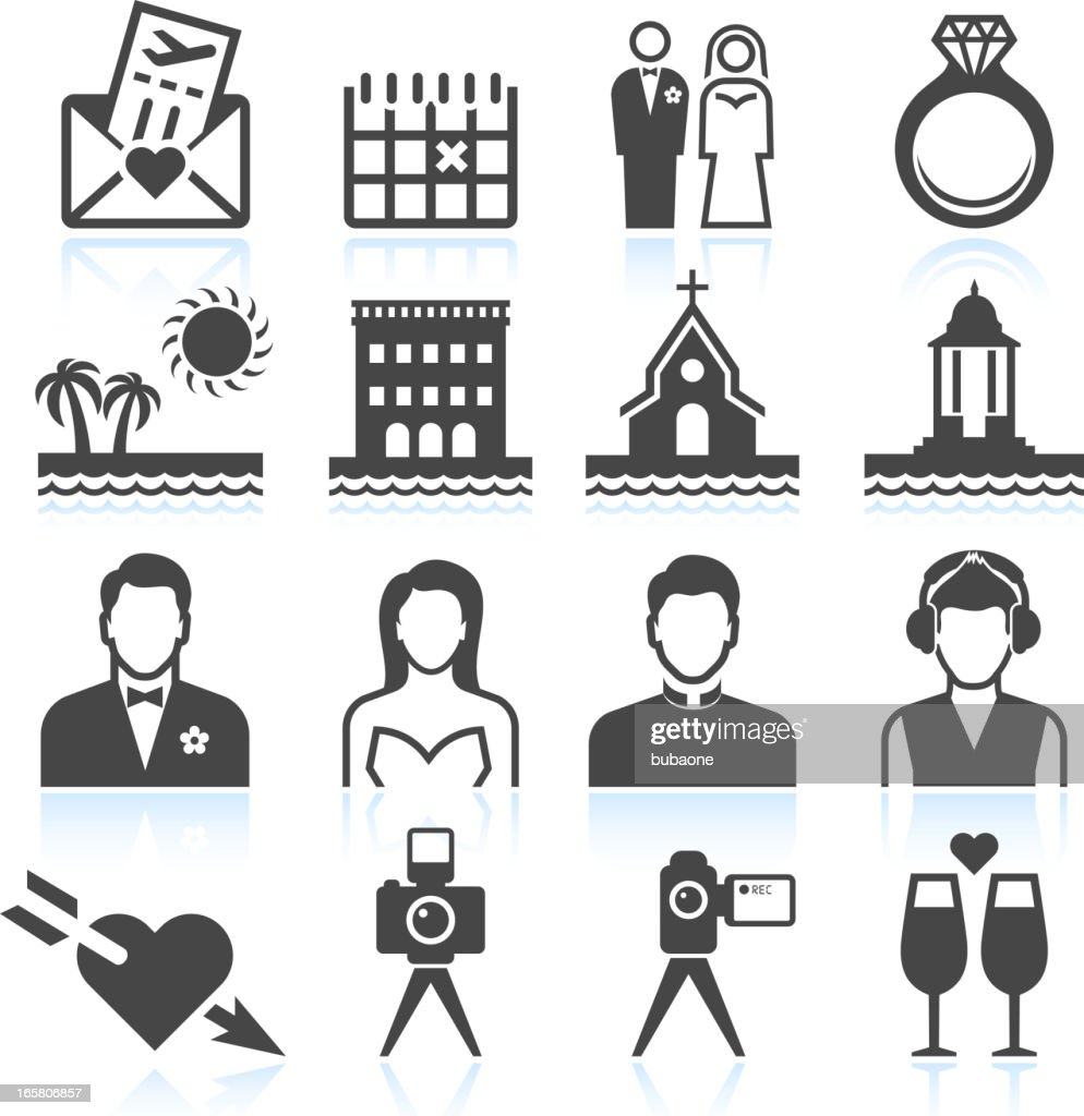 Destination Wedding black & white royalty free vector icon set