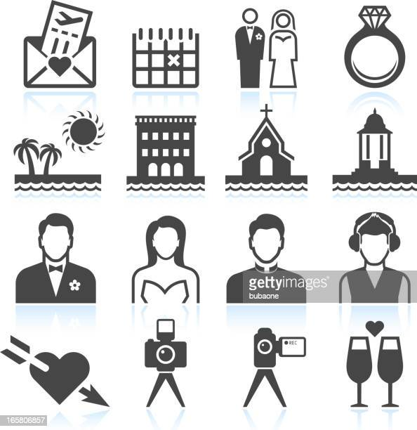 destination wedding black & white royalty free vector icon set - chapel stock illustrations, clip art, cartoons, & icons