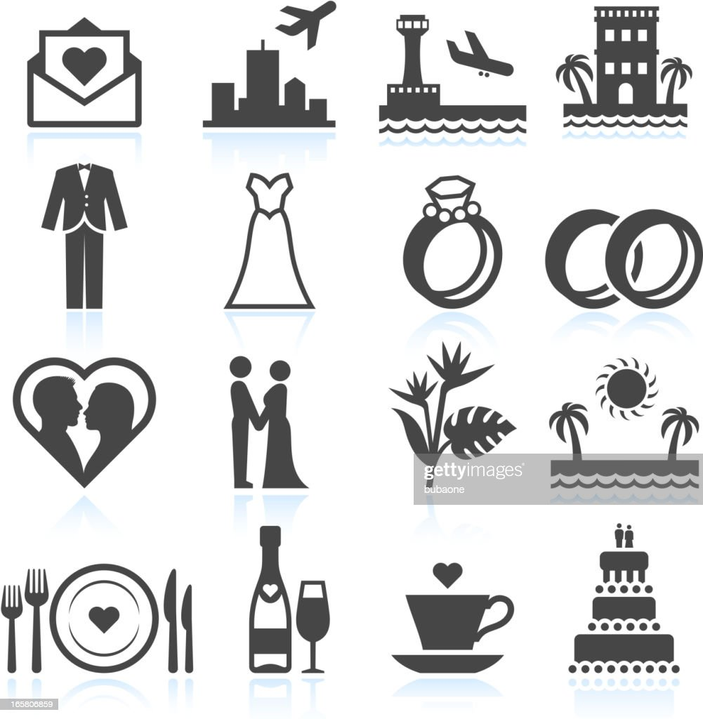 Destination Wedding Ceremony black & white vector icon set : stock illustration