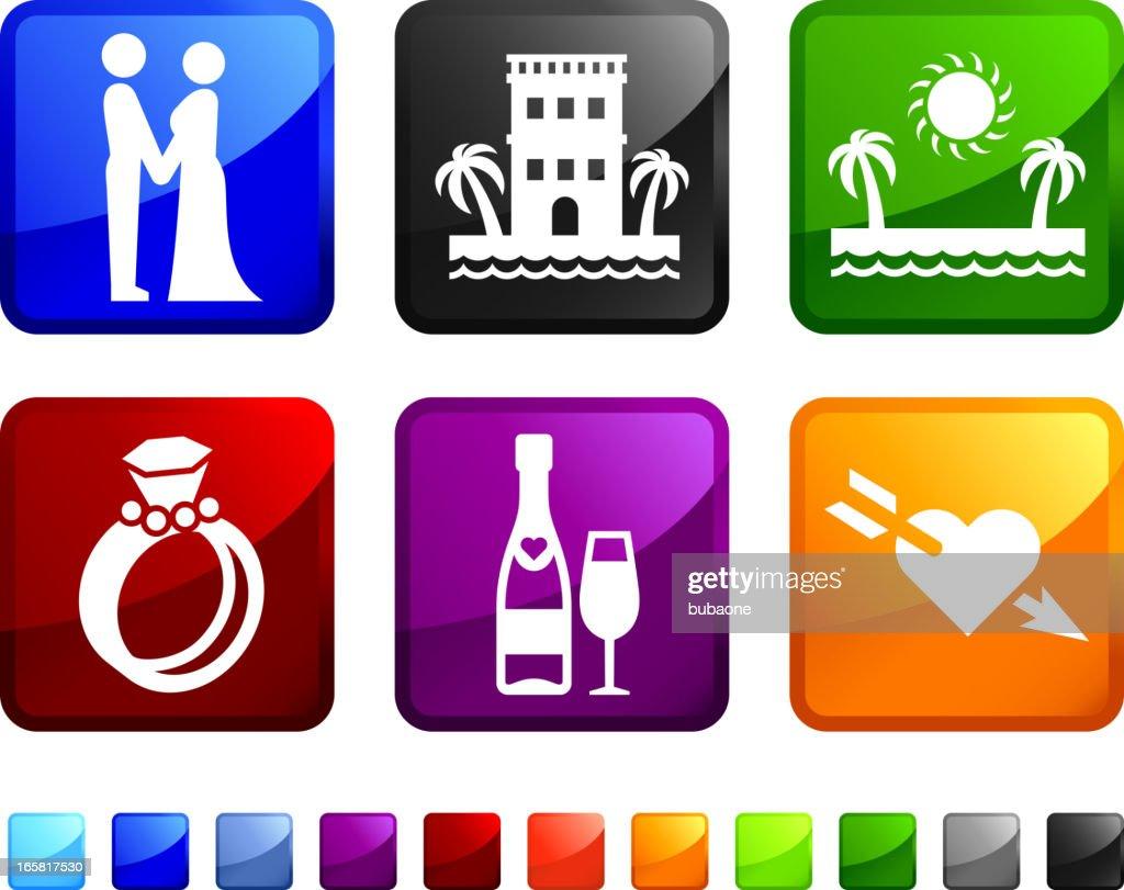 Destination Wedding royalty free vector icon set stickers