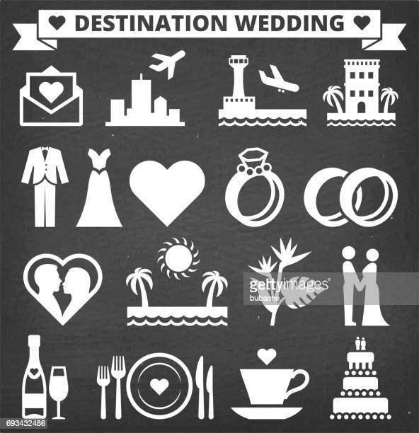 Destination Wedding Vector Icon Set on Black Chalkboard