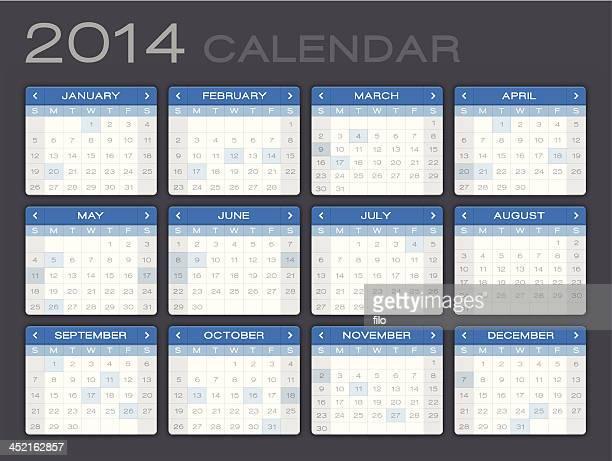 detailed 2014 calendar - 2014 stock illustrations