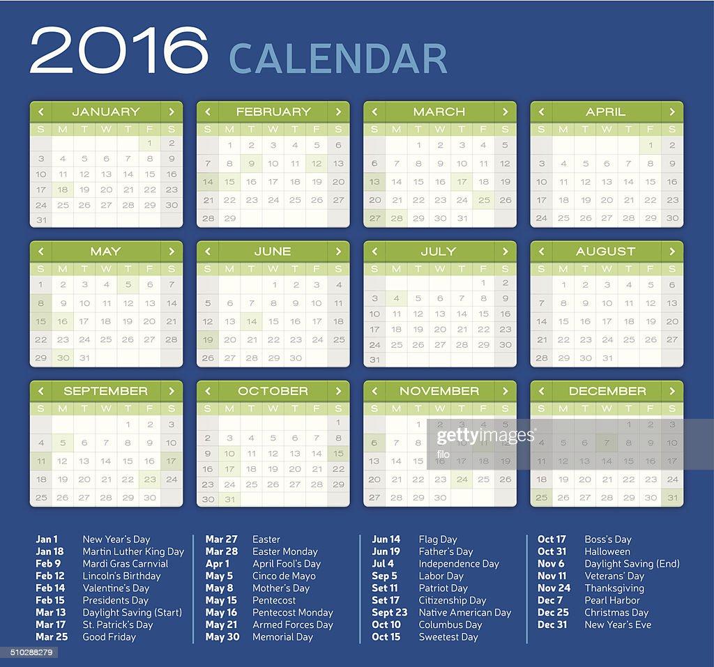 Detailed 2016 Calendar