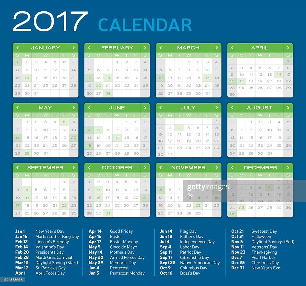 Detailed 2017 Calendar