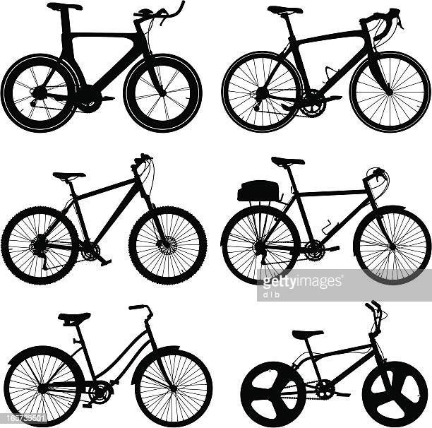 detailed bike silhouettes - racing bicycle stock illustrations
