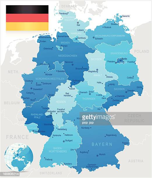 A detailed blue colored map of Germany