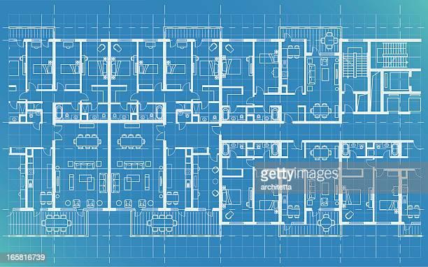 apartment-plan, technische zeichnung - technische zeichnung stock-grafiken, -clipart, -cartoons und -symbole